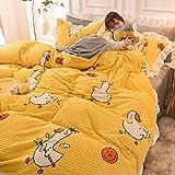 Ropa de Cama Juego de Cuatro Piezas Sábanas Funda de Almohada Funda de edredón Dormitorio Infantil Niñas Padres Textiles para el hogar Niño Dibujos Animados Pato Imprimir Lindo Simple 180 * 220