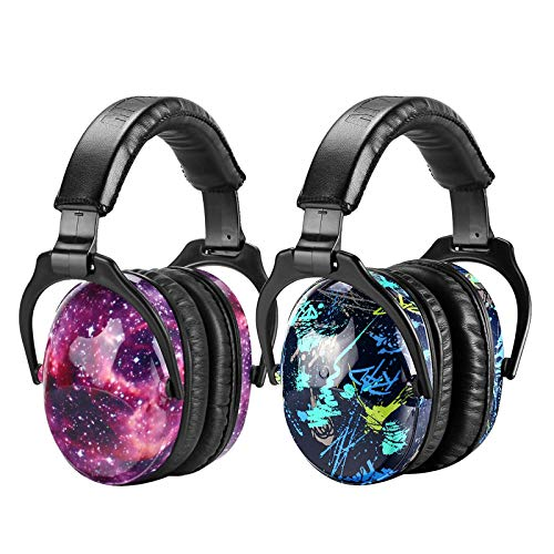 ear protectors for kids ZOHAN Kids Ear Protection 2 Pack, Hearing Protection Safety Ear Muffs for Children Have Sensory Issues, Adjustable Noise Reduction Earmuffs for Concerts, Fireworks (Nebula&Rap)