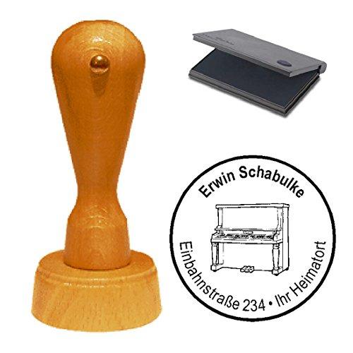 Stempel met kussen KLAVIER PIANO - met persoonlijk adres