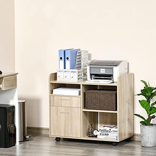 Vinsetto Armario para Impresora Carro Multifuncional de Oficina con 3 Compartimentos 2 Cajones para Archivos Estante Ajustable Ruedas con 2 Frenos 80x40x72 cm Roble