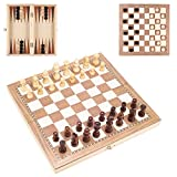 Exforces Wooden Chess Set, 3 in 1 Chess Checkers Backgammon Set, Folding Chess Set for Kids, Adults, Travel