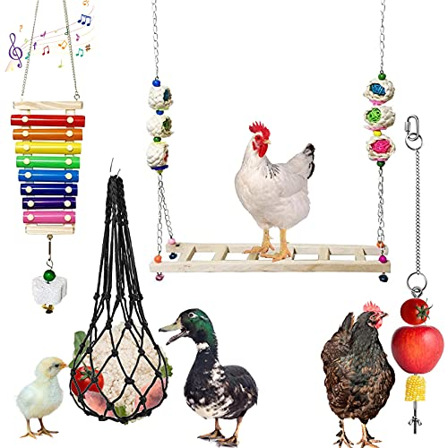 4PCS Chicken Swing Toys Wooden Ladder Stand Toy Chicken Xylophone Toy for...