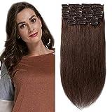 Extension a Clip Cheveux Naturel en Lot Pas Cher 10 Pcs - Vrai Cheveux Humain Remy Hair - Volume Standard (#4 CHATAIN, 16'18'20')