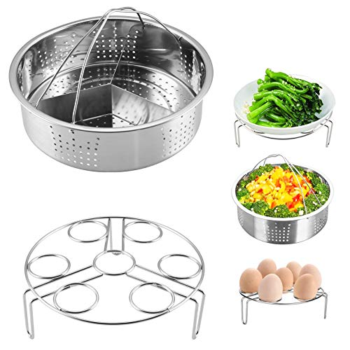 Trintion 3Pcs Steamer Basket Rack Set Stainless Steel Cooking Steamers Vegetable Steam Insert Pans Egg Rack Compatible with 5, 6, 8qt Pressure Cooker, Instant Pot