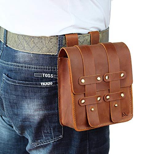 DK86 Leather Belt Pouch Waist Bag Fanny Pack, with Belt Loop, Renaissance Medieval, for Men and Women, Vintage Brown
