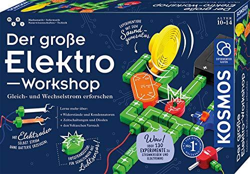 KOSMOS 620820 Der große Elektro-Workshop, Erforsche Gleichstrom und Wechselstrom, über 130 Experimente, Experimentierkasten für Kinder ab 10 - 14 Jahre