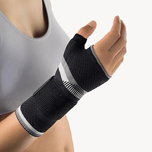 Bort 112940 medium rechts schwarz ManuBasic Plus Handgelenkbandage mit Daumeneinschluß, rechts oder links tragbar in verschiedenen Farben, rechts medium, schwarz