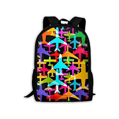 Tutui Laptop Bag,Airplane Colorful Aircraft Bookbag Pockets School Bags 28cm(W) x43cm(H)