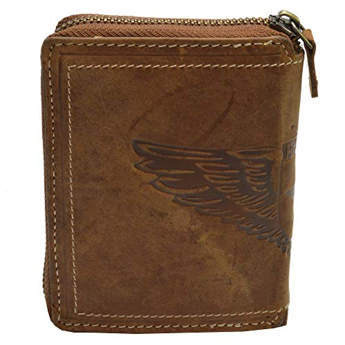 Echt Leder Herren Portemonnaie mit Flügel Ausfdruck Vintage Design mit rundum Reißverschluss Geldbörse