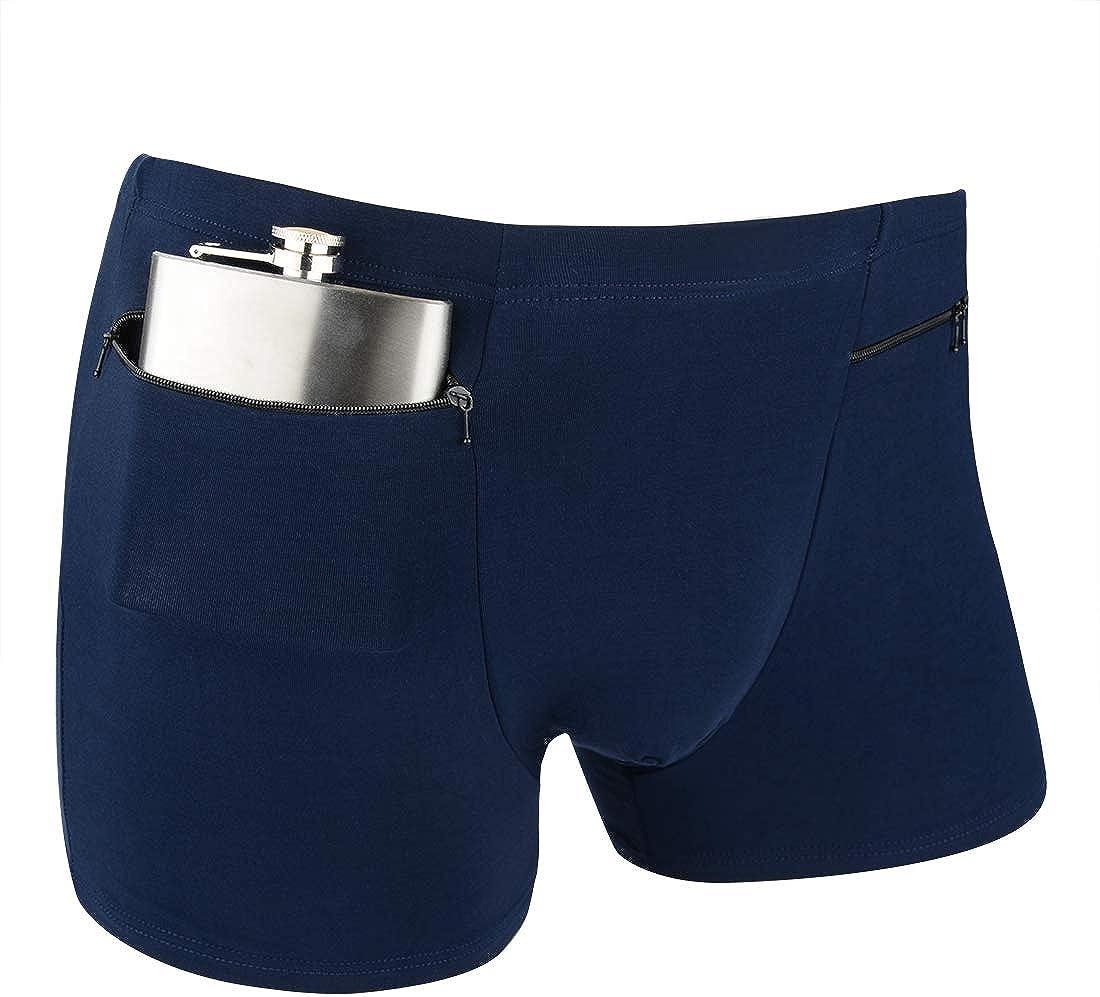 H&R Men's Boxer Briefs Secret Hidden Pocket, Travel Underwear with Secret Front Stash Pocket Panties, 2 Packs (Blue)