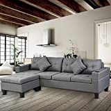 DKLGG Sectional Sofa Set for Living Room Modern Linen Couch 4 Seat with L Shape Reversible Lounge,Cup Holder and Left Or Right Hand Chaise, Lead Gray