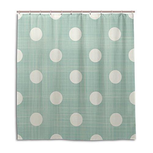 MyDaily Retro-Duschvorhang, gestreift, mit großen Punkten, 182,9 x 182,9 cm, schimmelresistent, wasserfest, Polyester, Dekoration für das Badezimmer