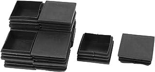 SODIAL(R) 50mm x 50mm Plastico Cuadrado Extremo Ciegos Tapones Tapa Tubo Plaquitas 12