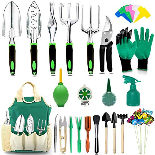 AOKIWO 51 PCS Garden Tools Set Succulent Tools Set Heavy Duty Aluminum Manual Garden kit Outdoor Gardening Gifts Tools for Men Women