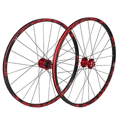 VPPV Ruedas de Bicicleta de 26 Pulgadas Llanta MTB de 27,5', Aleación Aluminio Freno Disco 24 Hoyos Híbrido/Montaña 11 velocidades (Color : Rojo, Size : 27.5 Inch)