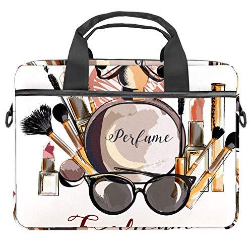 Parfüm Make-up Mascara Lippenstift Laptop Tasche Canvas Muster Aktentasche Laptop Schultertasche Messenger Bag Sleeve für 13,4-14,5 Zoll Apple MacBook Laptop Aktentasche