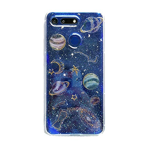 3C Collection Huawei Honor 9 Lite Hülle Galaxis Planet, Huawei Honor 9 Lite Hülle Glitzer Transparent, Clear Universum Sterne Muster Dünne Durchsichtige Hülle für Huawei Honor 9 Lite Mädchen