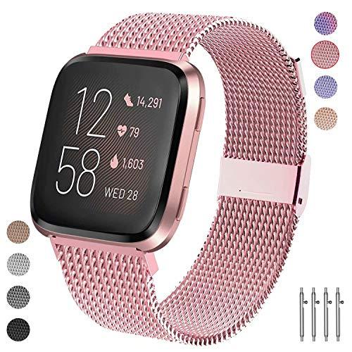 Qunbor Armband kompatibel mit Fitbit Versa/Versa Lite Edition/Versa 2 für Frauen Mann, Metall Edelstahl Ersatzband Armbänder Sport Uhrenarmband für Fitbit Versa Smartwatch Klein Groß (Rosa S)