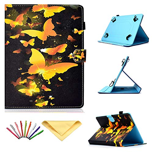 Uliking Universal Case for 7 inch Tablets, Stand Cover with Pencil Card Holder for 6.8' 7' (6.5'-7.5') Samsung Tab 2/3/4/A/E (7.0)/Fire 7/Lenovo/Huawei mediaPad 7/HP/Asus/LG,ect, Bling Gold Butterfly