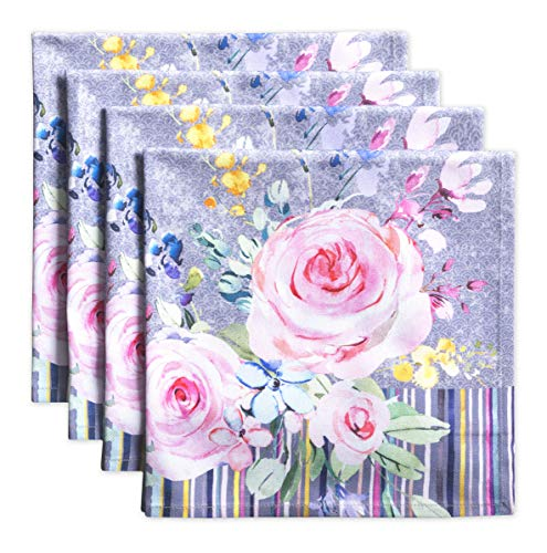 Maison d' Hermine Sweet Rose Lavender 100% Cotton Soft and Comfortable Set of 4 Napkins Perfect for Family Dinners | Weddings | Cocktail | Kitchen | Spring/Summer (20 Inch by 20 Inch).
