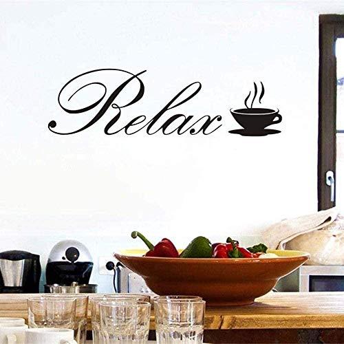 SMSDAMAI Wandtattoo Wandaufkleber DIY Wandbild Kreative Mode Entspannen Sie Sich Kaffeetasse Cafe Art Decal Wallpaper Home Decoration 59X17Cm