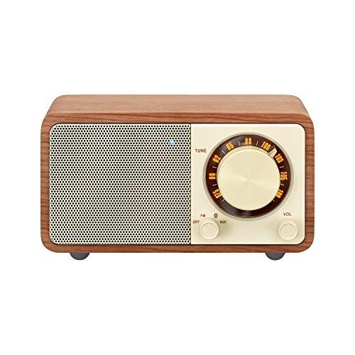 Sangean WR-7 tragbares Desktop-Radio (FM-RDS-Tuner, Bluetooth, AUX-In, integrierter Lautsprecher, Akkubetrieben(aufladbar)) , Walnuss