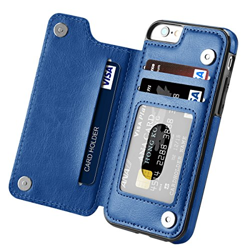 iPhone 6s Case, iPhone 6 Case, Hoofur Slim Fit Premium Leather iPhone 6 Wallet Casae Card Slots Shockproof Folio Flip Protective Shell for Apple iPhone 6/6s (4.7 Inch) (Blue)