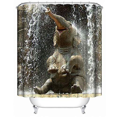 QuanCheng Happy Elephant Shower Curtain Waterproof Polyester Fabric Shower Curtain for Bathroom (Cute Elephant, 70Wx70L)