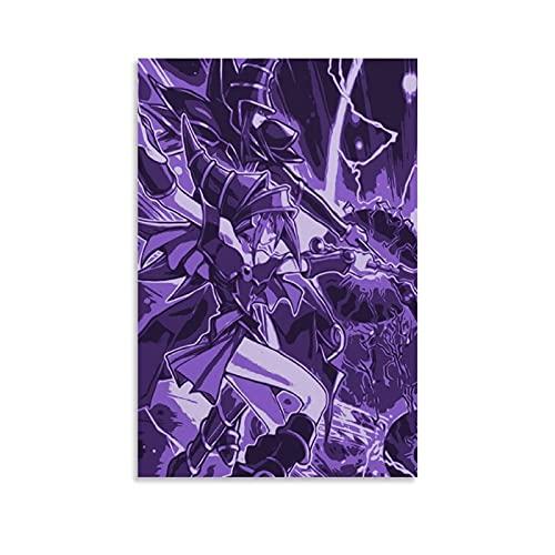 Impression sur toile représentant un personnage d'anime japonais classique Yu-Gi-Oh Dark Burning Magic sur toile et décoration murale moderne pour chambre à coucher, 50 × 75 cm