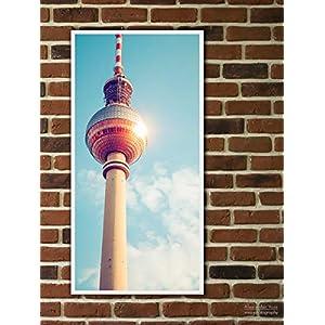 Fine Art Print auf LKW-Plane, Berlin – Fernsehturm Reflexion, 100 x 50cm