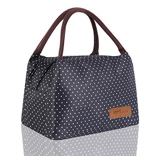 HOMESPON Sac Isotherme à Repas Portable Lunch Bag à Déjeuner Waterproof avec Feuille d'Aluminium Isolée Sac à Main Pliable pour Femme, Enfant à l'École et au Bureau