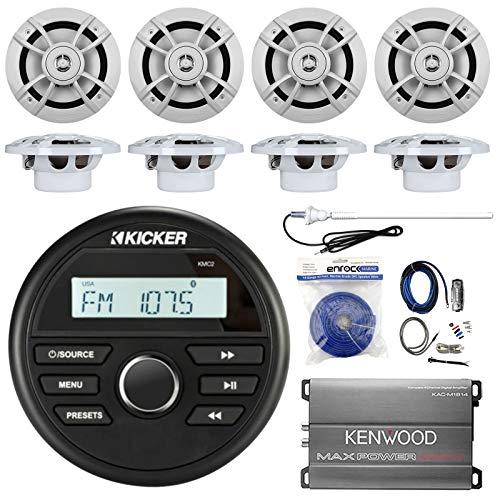 Kicker Marine Gauge Style AM/FM Stereo Receiver Bundle Combo with 8X Kenwood 6.5-Inch 100 Watt Speaker, Compact 400-Watt Amplifier W/Wiring Kit, Enrock Radio Antenna, 50 Feet 14G Wire