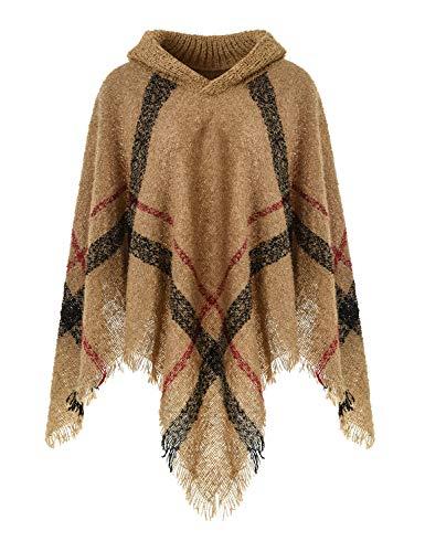 Ferand Warmer Weicher Karierter Damen Poncho-Pullover mit Kapuze oder Rollkragen, Kapuzenversion: Kamel, Einheitsgröße (Beste Passform S-L)