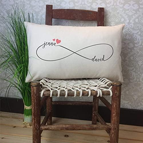 IUYG Parejas Infinito Nombre Personalizado Suave microfibra almohada hogar cuadrado ornamento almohada