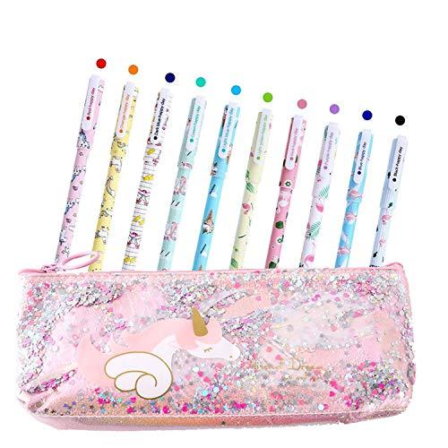 Bolígrafos de unicornio para niñas, estuche de regalo de cumpleaños, 10 colores, juego de bolígrafos de flamencos de unicornio, estuche para niños y niñas de 3 4 5 6 7 8 910 años de edad