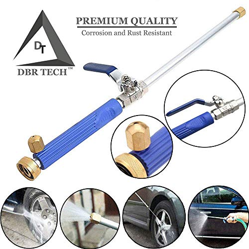 DBR Tech Hydro Jet High Pressure Power Washer Wand for Car Washing or Garden Cleaning, Heavy Duty Metal Watering Sprayer with Universal Hose End, Hydrojet Water Power Nozzle, Navy