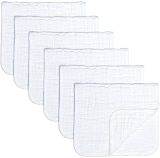 Muslin Burp Cloths 6 Pack Large 100% Cotton Hand Washcloths 6 Layers Extra Absorbent and Soft