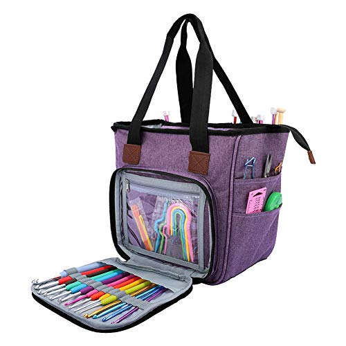 SumDirect Yarn Bag, Knitting Organizer Tote Bag Portable Storage Bag for Yarns, Carrying Projects, Knitting Needles, Crochet Hooks, Manuals and Other Accessories (Purple)
