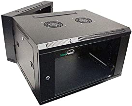 NavePoint 6U Wall Mount Double Section Hinged Swing Out Server Network Rack Cabinet Lock
