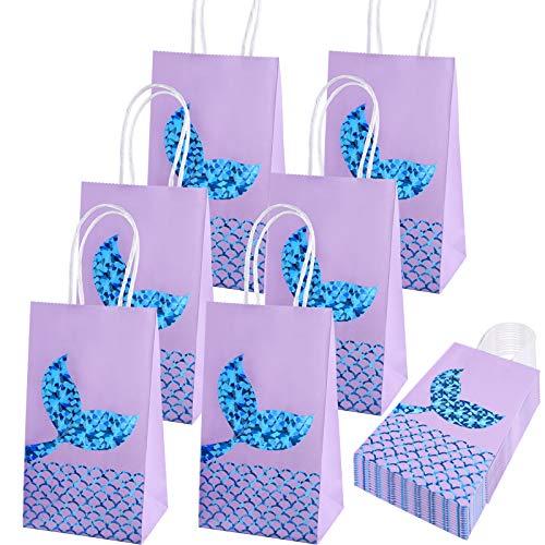 SIQUK 20 Packs Mermaid Party Bags Mermaid Gift Bags Paper Bags Mermaid Party Supplies Goodie bags Glitter Treat Bags for Kids Mermaid Themed Party