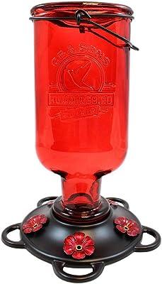 More Birds Elixir Hummingbird Feeder, Vintage Glass Medicine Bottle, 5 Feeding Ports and 13-Ounce Nectar Capacity