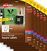 Avery Easy Peel Print-to-the-Edge White Square Labels 2 x 2 300 Labels per Pack 5 Packs (22806) [並行輸入品]