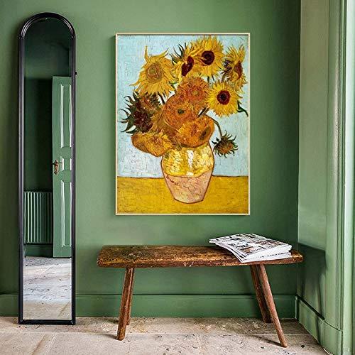 ganlanshu Pintor holandés Famoso Girasol Pintura al óleo póster de Pared Arte para Sala de Estar decoración del hogar,Pintura sin Marco,50X67cm