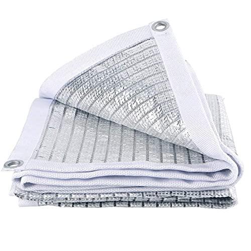 YUNZHIDUAN Paño de Aluminio Reflectante 70% Blanco para Sombra, Red de Sombra para Bloqueador Solar Resistente a los Rayos UV con Ojal, Lona de Malla para Sombra de jardín de Primera Calidad