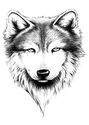 Yeeech Temporary Tattoo Paper Large Animal security Bla Wolf Men Head excellence for