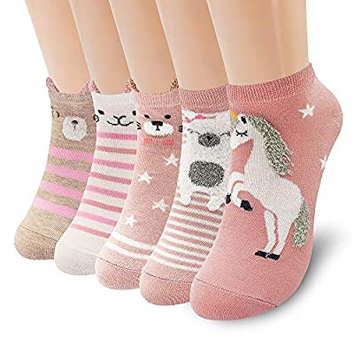 SUNWIND 5 Pares de Calcetines Femeninos de Dibujos Animados, Calcetines de Algodón Cálidos y Bonitos EU35-40 (Unicornio rosa)
