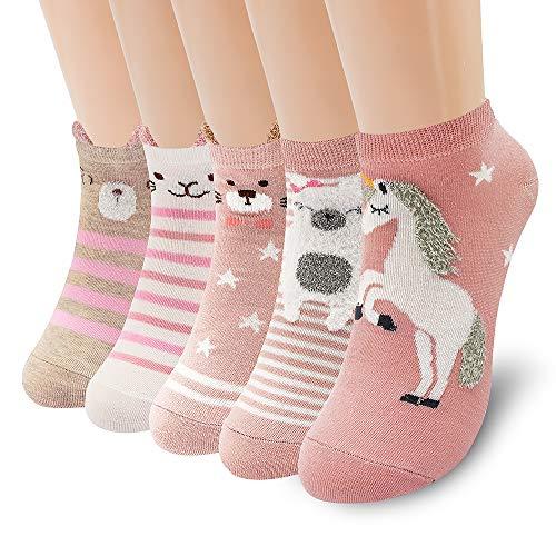 SUNWIND Süße Karikatur Tiere Damen Socken 5 Paar,Bunte Socken Damen Charakter Socken Neuheit Baumwolle Lustige Tier Socken für Frauen und Mädchen (Einhorn rosa Serie)