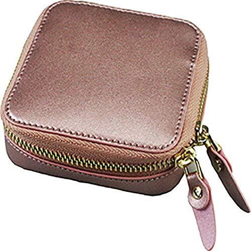 LIXILI Caja de joyería portátil, Bolsa de Almacenamiento de Viaje, Usado para Pendientes de Anillo, Collares, Regalos,Rosado