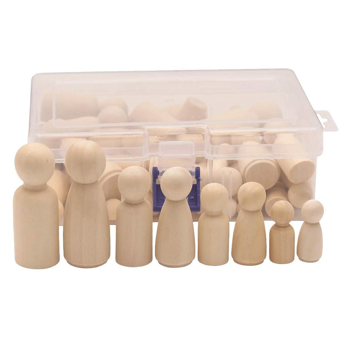 dailymall 約50個入り ペグ人形 木製 子供 玩具 未塗装 人形 手芸品 インテリア 置物 収納ボックス付き