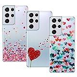Young & Min Funda para Samsung Galaxy S21 Ultra, (3 Pack) Transparente TPU Carcasa Delgado Anti-Choques con Dibujo de Corazón
